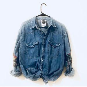 Vintage Levi's Denim Shirt with Embellished Sleeve